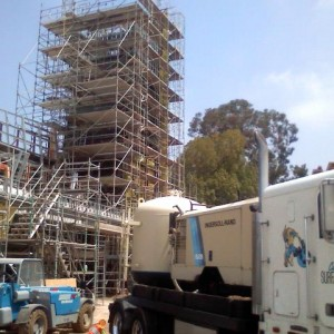 Sandblasting a 70' Clocktower at East LA College